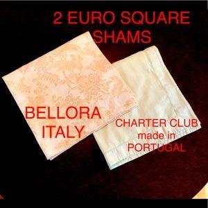 2 EURO SQUARE SHAM CASES 1 BELLORA, 1 CHARTER CLUB